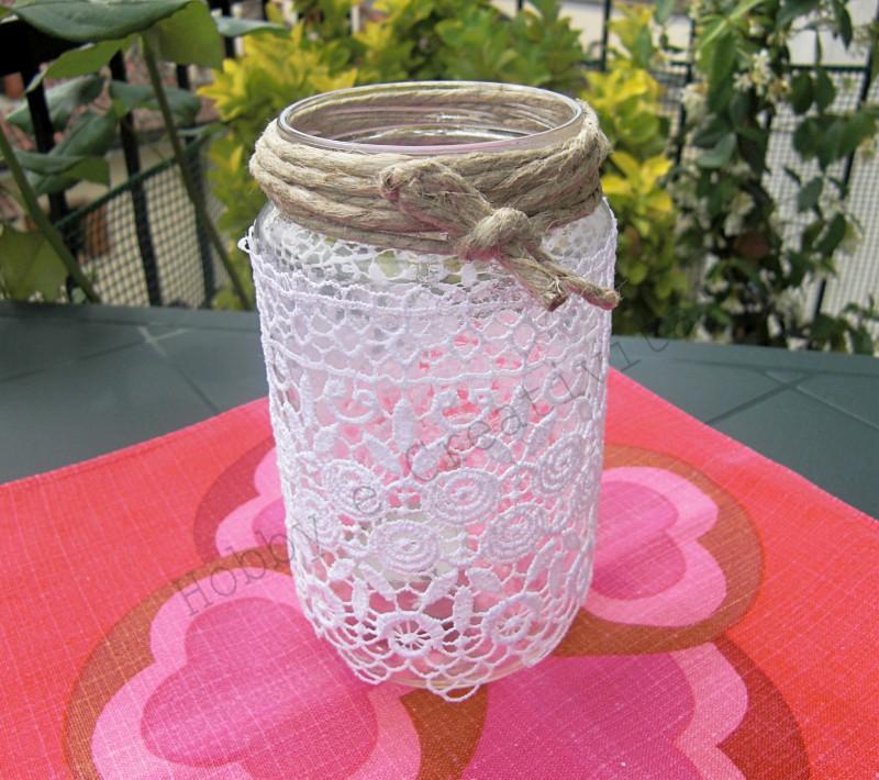 riciclo di un vasetto di vetro