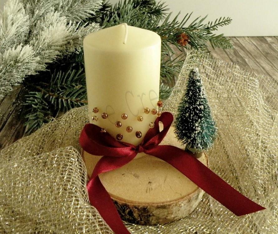 candele decorate per Natale