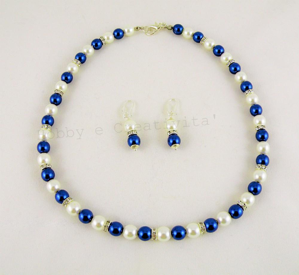 parure in perle di vetro madreperlate