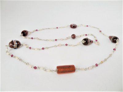 collana lunga in perle rosse