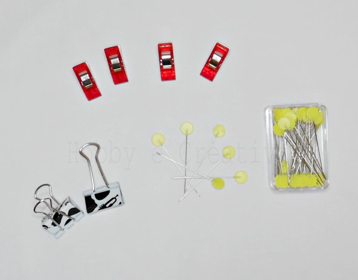attrezzi per il cucito creativo spilli mollettine