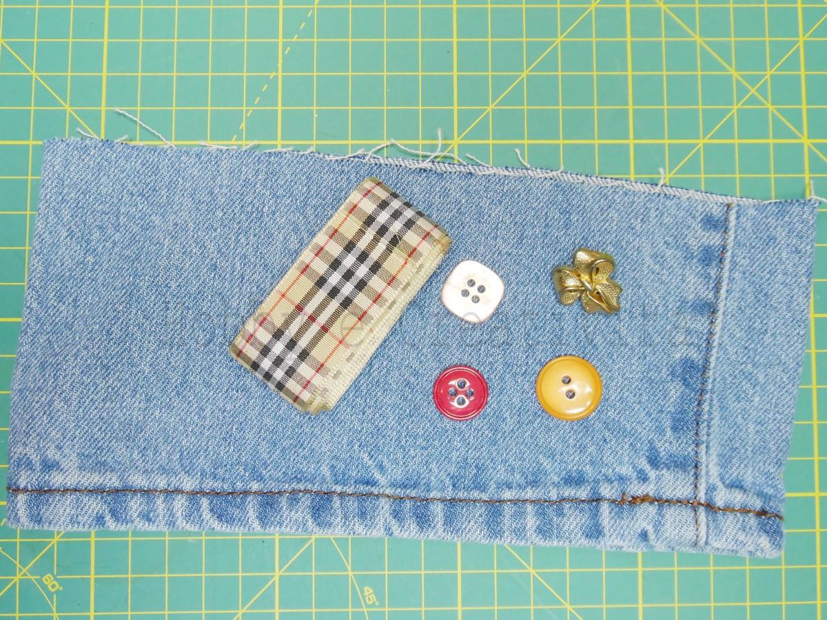 portatovaglioli di jeans materiale