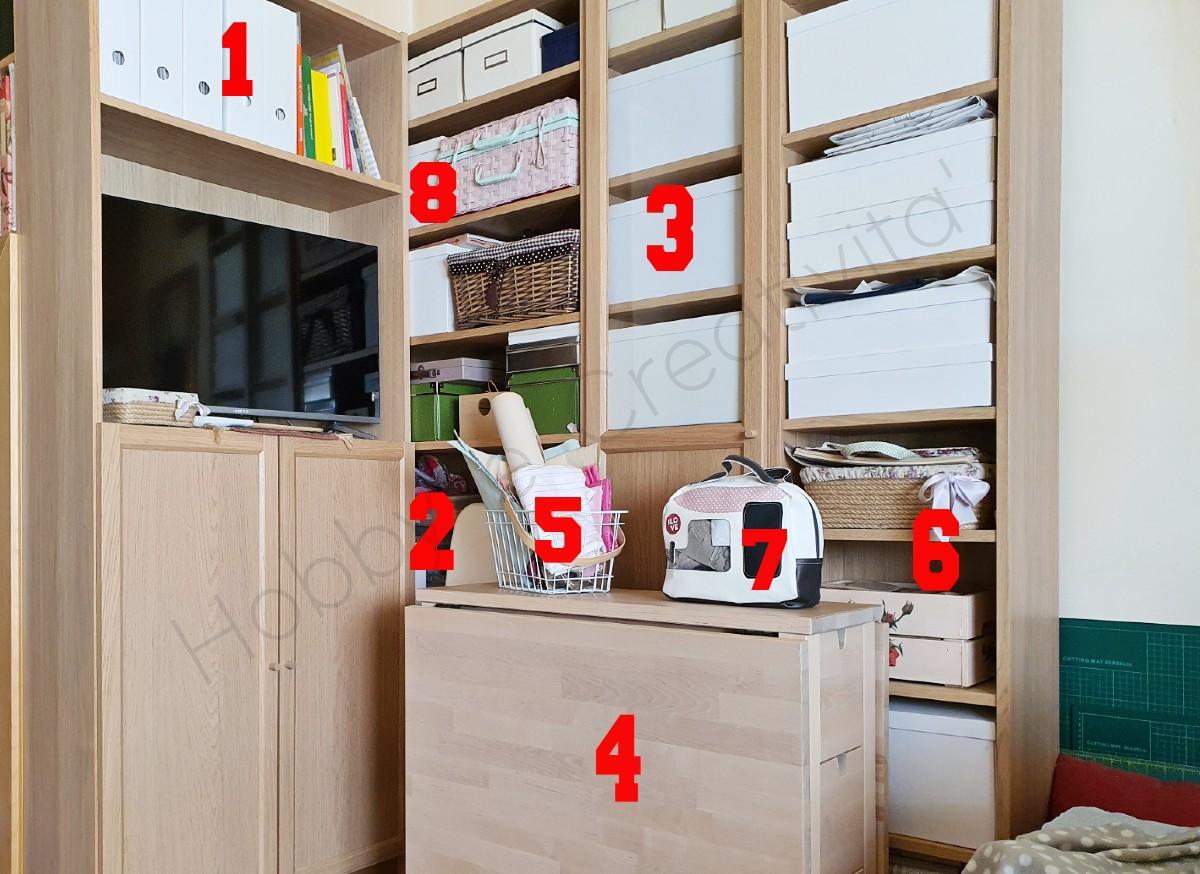 organizzare la stanza del cucito particolari