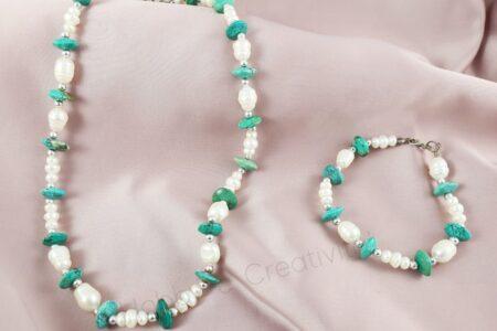 perle di fiume e turchese